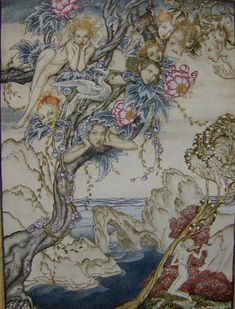"This painting is called ""The Tempest"" by Arthur Rackham. It adds value and color, as the shades of blue, pink and gold are emphasized. The spirits and fairies are shown in the midst of the sea. Prospero uses magic and spells to aid in his act of revenge."