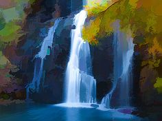 Lanjee chee - Waterfall And Rocks