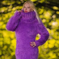 Fuzzy 100% hand knitted mohair sweater dress in purple, size S, M, L, XL
