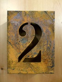 8 Rusty Rusted Metal Block Cut Sign Number Two 2 House Address Wall