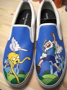 ADVENTURE TIME! Handpainted Adventure Time Shoes VANS by WalkingDeadApparel