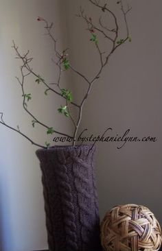 Recycled Sweater Covered Vase! Beautiful!