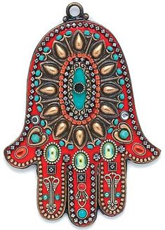 "Coral and turquoise 'southwest' wall hamsa. This would look great on my ""portal de la milagros""."