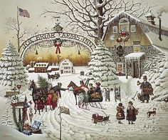 """Christmas Greeting (Fox Briar Farms Inn)"" ~ a 1000 piece jigsaw puzzle ~ Charles Wysocki (2007)"