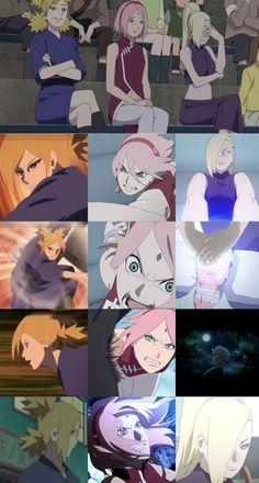 3 badass kunoichis of All time | They returned with their abilities in Boruto | Temari 💚| Sakura ❤️| Ino 💜| Temari for Attack, Sakura for attack and Support, Ino for support. #Boruto #UzumakiNaruto #SakuraHaruno #UchihaSasuke #ShikamaruNara #AkimichiChoji #YamanakaIno #HinataHyuga #KibaInuzuka #ShinoAburame #Tenten #RockLee #NejiHyuga #NarutoAnime #Anime #Otaku #YamanakaClan Naruto, Sakura, Sasuke, Shikamaru, Hinata, Ino, Shino, Tenten, Neji, Lee, Kiba, Choji,