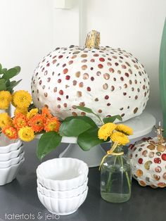 Pottery Barn Inspired Mercury Mirror Grout Pumpkins! Such a pretty look for fall! -- Tatertots and Jello #MichaelsMakers