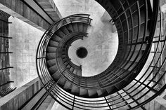 Black and white abstract of spiral staircase.  Abstract architectural photography by Tencho Atanasov on 500px