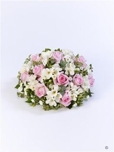 Scented Posy - Pink and White. A beautiful scented posy including scented freesias, roses and september flower in soft pink and white.