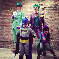 Neil Patrick Harris, David Burtka and their two children Gideon and Harper, 4: Riddler, Joker, Batman and Batgirl http://dailym.ai/109F4L6 #Halloween
