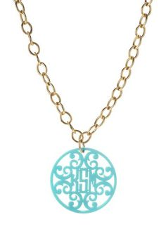 Rimmed Script Monogram Necklace on Greenwich Chain {23 Color Options} SwellCaroline.com