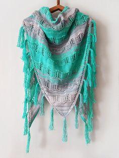 Knitted summer cotton shawl with tassels, knitted green grey shawl, knitted lace shawl, summer cotton wrap, boho shawl by SanniKnitting on Etsy