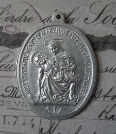 Very Large Vintage Pieta Sorrowful Heart Of Mary Catholic Medal With Saint Joseph Protector Of Fathers, Carpenters, Workers & Craftsmen