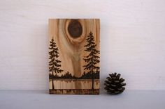 Horizons  Art Block  Woodburning by TwigsandBlossoms on Etsy, $38.00 Tree art wood burning...so lovely, so natural...