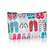 "Medium Thermal Zipper Pouch in ""fun flops"" (Thirty-One Gifts) for sunscreen & bug spray bottles or wet swimsuits"