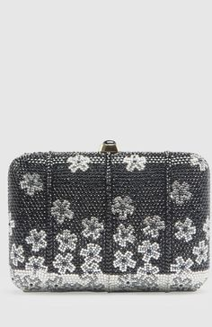 Judith Leiber Black And Silver Clutch Premium designer outlet online boutique at luxlu.com