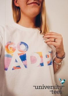 rainbow color block letter white tee I made by University Tees I apparel designs Sorority Pr, Sorority Shirt Designs, Sorority Shirts, Delta Gamma Shirts, Phi Mu Shirts, Gamma Phi, Team Shirts, Kappa, Trend Board