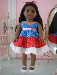 Summer Sundress made to fit  18 inch American Girl Doll Red, White and Blue  July 4th. $19.95 USD, via Etsy.