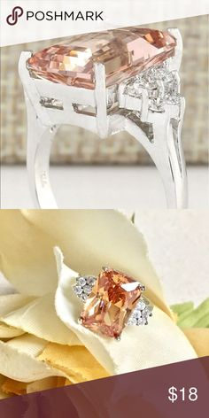 ✨Silver + Morganite Gemstone Cocktail Ring✨ So pretty! 3.84 Ct natural gemstone, with CZ accents. Nice size and nice sparkle ✨ Price firm unless bundled! *note, it has a s925 stamp, but info was vague on it and it might be silver plated - that's my reason for recent price drop* Jewelry Rings