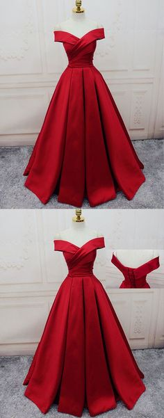 Gorgeous Red Off Shoulder Prom Dress,Long Evening Dress,Lace up Prom Dress,2018 Prom Dress
