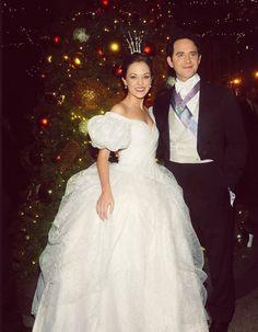 Cinderella stars Laura Osnes and Santino Fontana light the Christmas tree at the Palace Hotel