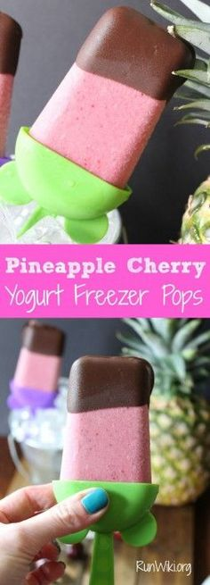 Easy DIY Homemade healthy Cherry Pineapple Fruit Yogurt Pops- Popsicle on a stick - chocolate dipped only 5 ingredients - so much better for your kids than store bought. Great kids snack recipe!