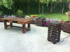 Outdoor area built with pallets