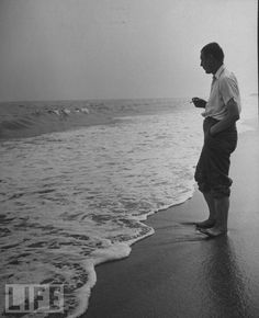 W. H. Auden on the beach in 1946. (Photo by Jerry Cooke)