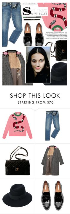 """""""Untitled #2015"""" by zayngirl1dlove ❤ liked on Polyvore featuring Gucci, True Religion, Chanel and Maison Michel"""