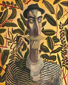 Oil painting, 'Leafy Self Portrait' by John Byrne, acquired by Aberdeen Art Gallery and Museums. Image reproduced courtesy of the artist. Oil Painting Basics, Oil Painting Abstract, Painting & Drawing, Self Portrait Drawing, Abstract Portrait, Portrait Images, Portrait Art, Painting Portraits, Paintings