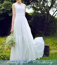 white dress spring autumn summer dress women by FashionalClothing