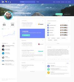 "via Muzli design inspiration. ""Linkedin Redesign Concepts"" is published by Muzli in Muzli - Design Inspiration. Intranet Design, Web Ui Design, Site Design, Graphic Design, Cv Website, Profile Website, Website Ideas, Web Dashboard, Dashboard Design"