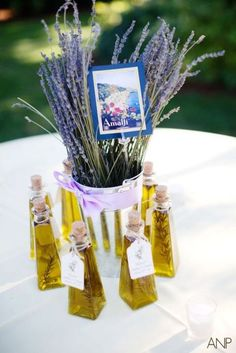 Infused Olive Oil bottle place cards/table numbers