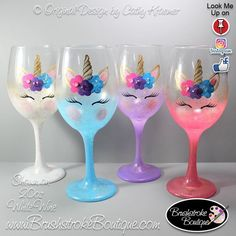 Hand Painted Wine Glass - Gold Fleck Unicorn Face - Personalized and Custom Painted Wine Glasses, Coffee Mugs & Ornaments Diy Wine Glasses, Decorated Wine Glasses, Hand Painted Wine Glasses, Fake Glasses, Wine Glass Crafts, Bottle Crafts, Unicorn Birthday Parties, Unicorn Party, Glitter Wine