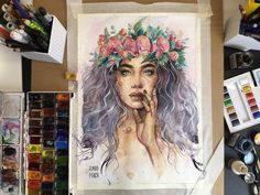 Watercolor painting by Humid Peach. Humid Peach is the name of the artist whose real name is Ksenia Kondyleva. Continue Reading and for more watercolor art → View Website Watercolor Drawing, Watercolor Portraits, Watercolor Illustration, Painting & Drawing, Watercolor Paintings, Art Sketches, Art Drawings, Art Inspo, Painting Inspiration