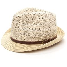 Under The Sun Crochet Fedora Hat BEIGE ($11) ❤ liked on Polyvore featuring accessories, hats, tan, paper hats, crochet crown, fedora hat, crochet hat and buckle hats