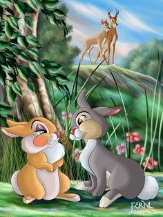 *MISS RABBIT & THUMPER ~ Bambi, 1942.... SPRING ARRIVED