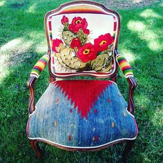 Reupholstered chair with cactus, serape, and Aztec patterned fabric Western Furniture, Funky Furniture, Furniture Projects, Furniture Makeover, Painted Furniture, Home Furniture, Furniture Design, Western Style, Western Decor