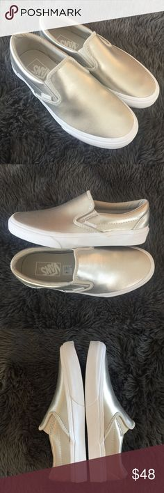New Metallic Vans classic slip on sneaker silver New with out tags/box. Women's size 8, color is metallic silver but has a silver/gold look in my opinion. Super cute, easy to wear. Please review photos for details. No trades. A few tiny first spots on sole from the store: Vans Shoes