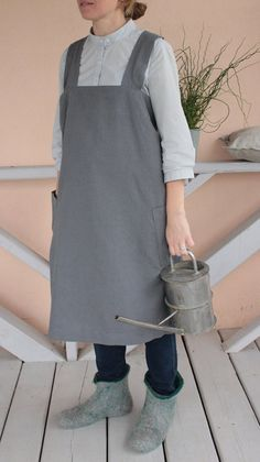 Washed Natural Linen, Curved Cross Back, Apron, Pinafore, Linen Square-Cross Apron, Long apron