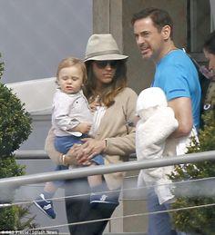 Robert Downey Jr, wife Susan and son Exton