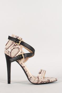 Anne Michelle Snake Criss Cross Ankle Strap Open Toe Heel
