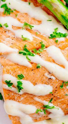 Oven Baked Salmon with Lemon Cream Sauce