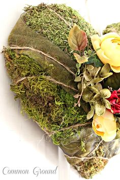 When thoughts of Valentine's Day and thoughts of Spring collide, I decided a moss covered heart would be fun to create. My inspiration piece. My Funny Valentine, Valentines Gifts For Her, Fall Mountain Wedding, Heart Wreath, Flower Crafts, Diy Craft Projects, Rose Buds, Grapevine Wreath, Grape Vines