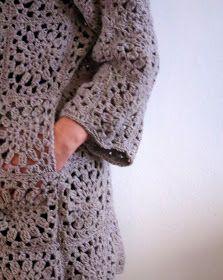omⒶ KOPPA: Kukkamandalaruutu - VILLATAKKI - omA variaatio Crochet Coat, Crochet Cardigan, Crochet Clothes, Crochet Symbols, Crochet Stitches, Diy Clothing, Clothing Patterns, Crochet Designs, Crochet Patterns