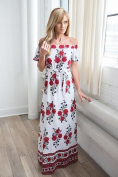 Shop our Dahlia Off The Shoulder Maxi Dress in White/Red. Free shipping on all US orders!