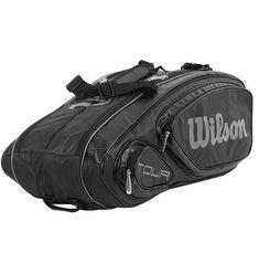 c535225b03 Wilson Tour 9PK Tennis Racket Black Racket Racquet Equipment Bag New  WRZ-844609