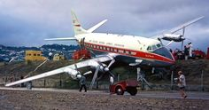 "New Zealand National Airways Corporation (NAC) Vickers Viscount 807 ZK-BWO ""City of Dunedin"" after veering off the runway after encountering windshear upon landing at Wellington on 17th February, 1963."
