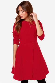 I know I live in a hot city, but I love this coat!!! Gauguin Red Frock Coat at LuLus.com!