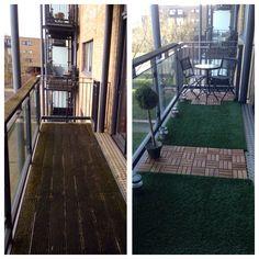 Transform your balcony into a small garden. Balcony ideas, AstroTurf, decking, solar lights, garden, ikea, home.