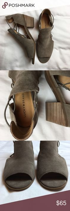 NWOT Lucky Brand Berrette Open Toe Booties 9.5M These are such fun booties for spring and summer! Leather upper, man made balance. Open toe. Gray green color with elastic strap. Slip on style. Size 9.5M. Please ask questions or make an offer! Lucky Brand Shoes Ankle Boots & Booties